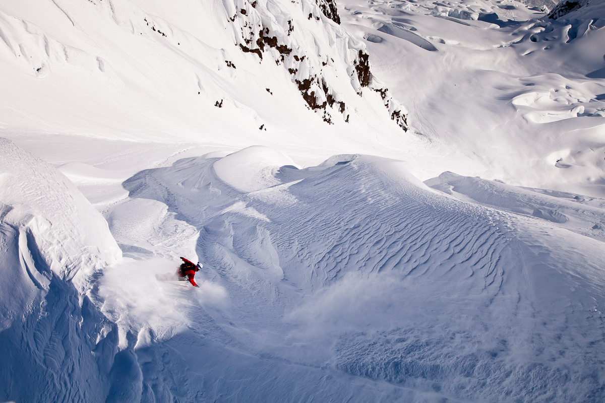 Ryland Bell charging big mountains in Alaska