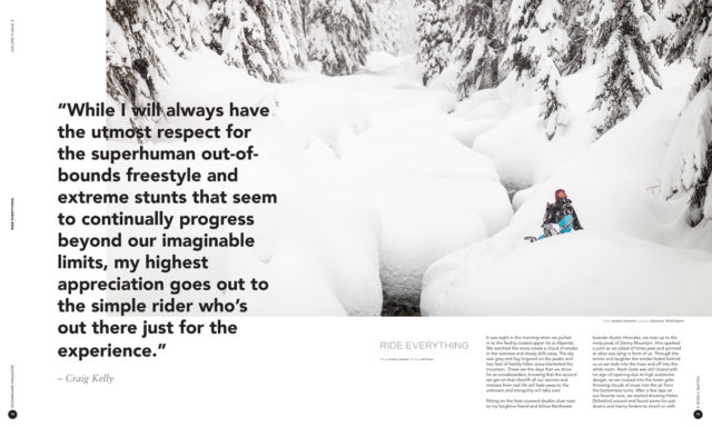 Ride Everything : Feature in SNOWBOARD (photos only)